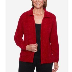 ALFRED DUNNER Petite Zip-Front Chenille Cardigan